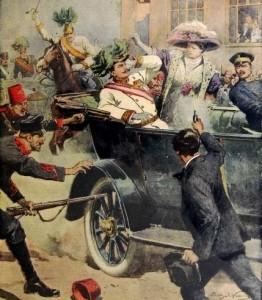 Sarajevo 1914 by Achille Beltrame in Domenica del Corriere (cropped)